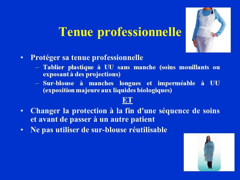 Tenue professionnelle Protéger sa tenue professionnelle –Tablier plastique à UU sans manche (soins mouillants ou exposant à des projections) –Sur-blou
