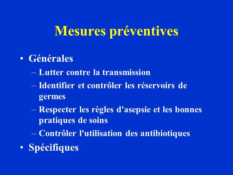 Mesures préventives Générales –Lutter contre la transmission –Identifier et contrôler les réservoirs de germes –Respecter les règles d asepsie et les bonnes pratiques de soins –Contrôler l utilisation des antibiotiques Spécifiques