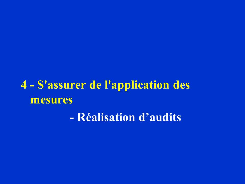 4 - S assurer de l application des mesures - Réalisation daudits