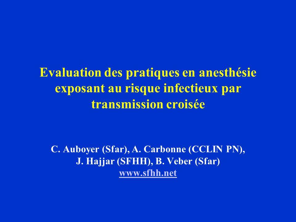 Evaluation des pratiques en anesthésie exposant au risque infectieux par transmission croisée C.