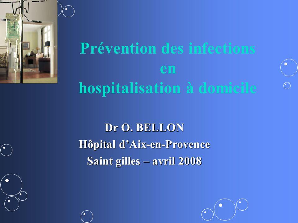 Profil de linfection en HAD Proche de linfection acquise lors dun séjour hospitalier, Risque souvent lié à des soins invasifs – –sonde urinaire ou cathéter.