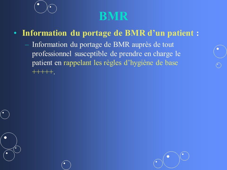 BMR Information du portage de BMR dun patient : – –Information du portage de BMR auprès de tout professionnel susceptible de prendre en charge le patient en rappelant les règles dhygiène de base +++++.