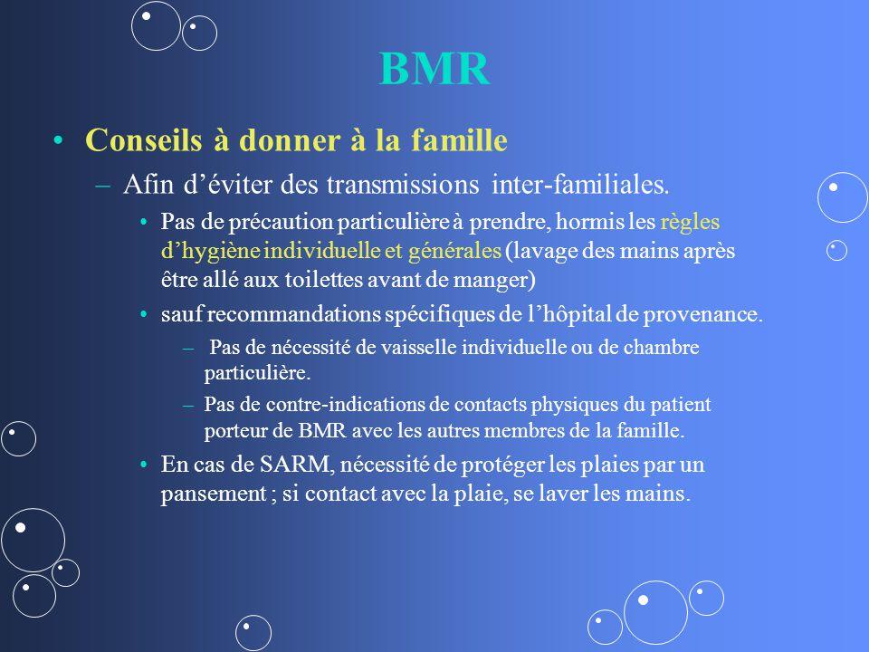 BMR Conseils à donner à la famille – –Afin déviter des transmissions inter-familiales.