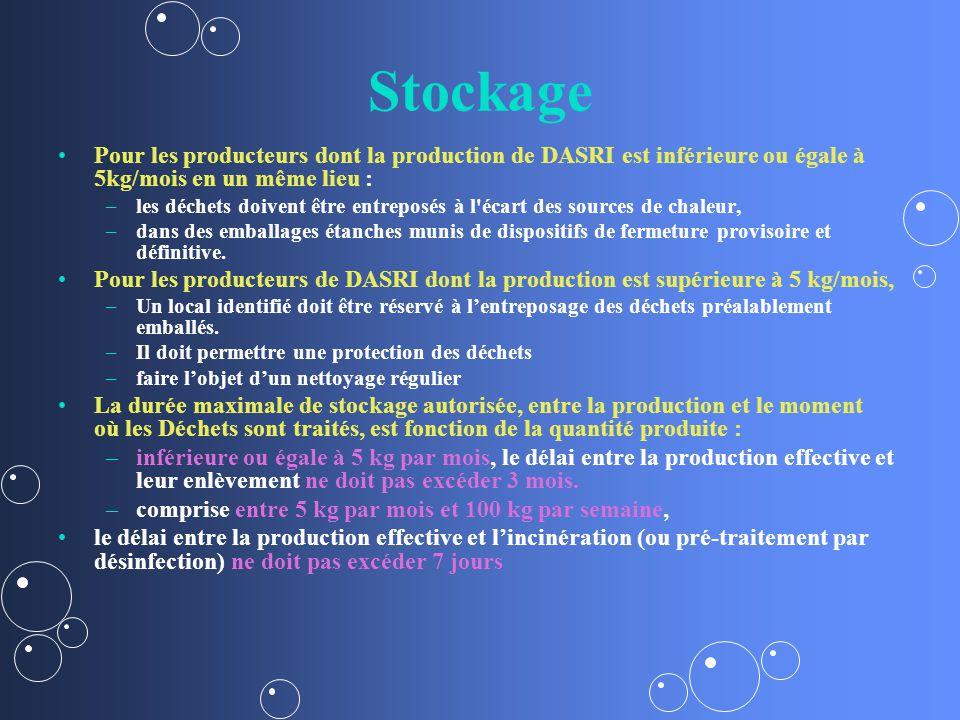 Stockage Pour les producteurs dont la production de DASRI est inférieure ou égale à 5kg/mois en un même lieu : – –les déchets doivent être entreposés à l écart des sources de chaleur, – –dans des emballages étanches munis de dispositifs de fermeture provisoire et définitive.
