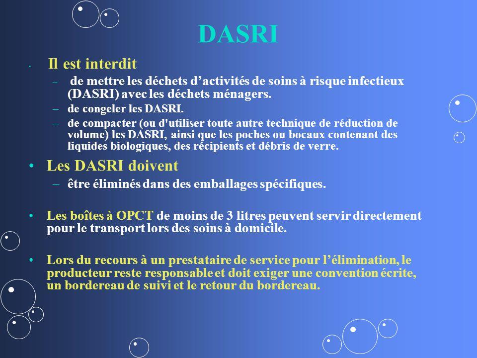 DASRI Il est interdit – – de mettre les déchets dactivités de soins à risque infectieux (DASRI) avec les déchets ménagers.