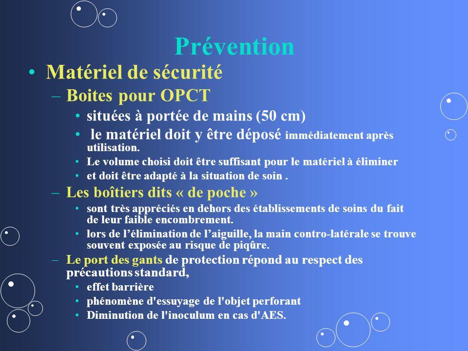 Prévention Matériel de sécurité – –Boites pour OPCT situées à portée de mains (50 cm) le matériel doit y être déposé immédiatement après utilisation.