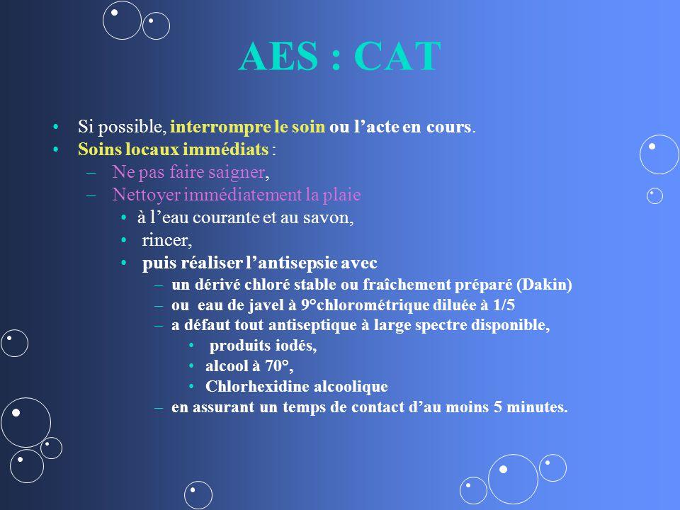AES : CAT Si possible, interrompre le soin ou lacte en cours.