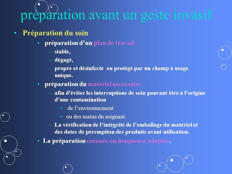 préparation avant un geste invasif Préparation du soin préparation dun plan de travail – –stable, – –dégagé, – –propre et désinfecté ou protégé par un champ à usage unique.