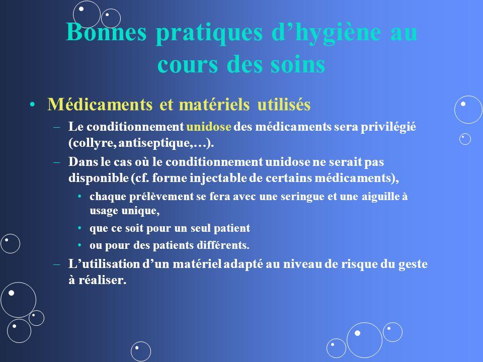 Bonnes pratiques dhygiène au cours des soins Médicaments et matériels utilisés – –Le conditionnement unidose des médicaments sera privilégié (collyre, antiseptique,…).