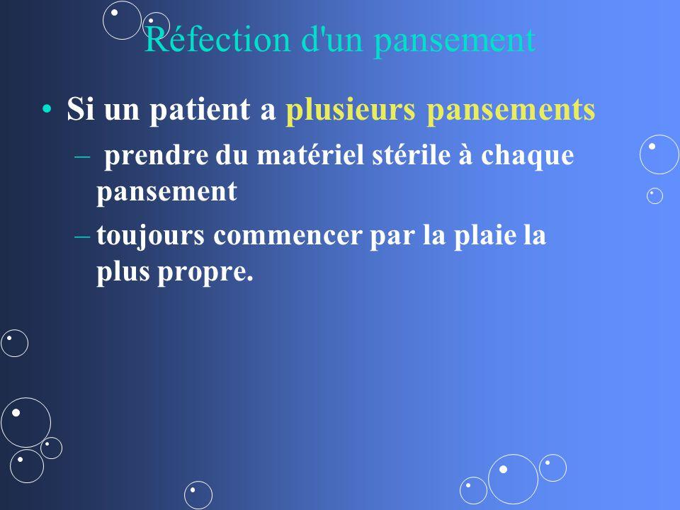Réfection d un pansement Si un patient a plusieurs pansements – – prendre du matériel stérile à chaque pansement – –toujours commencer par la plaie la plus propre.