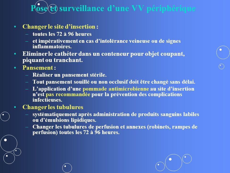 Pose et surveillance dune VV périphérique Changer le site dinsertion : – –toutes les 72 à 96 heures – –et impérativement en cas dintolérance veineuse ou de signes inflammatoires.
