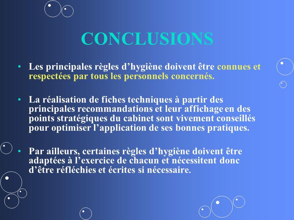 CONCLUSIONS Les principales règles dhygiène doivent être connues et respectées par tous les personnels concernés.