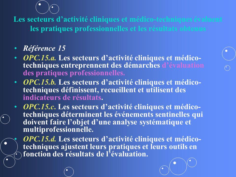 Les secteurs dactivité cliniques et médico-techniques évaluent les pratiques professionnelles et les résultats obtenus Référence 15 OPC.15.a.