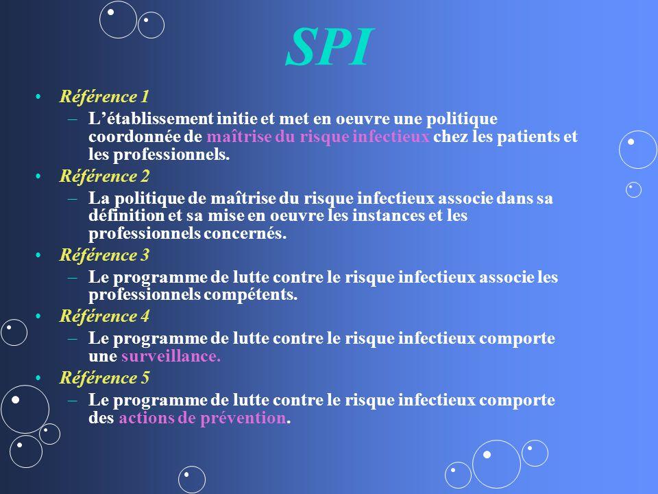 SPI Référence 1 – –Létablissement initie et met en oeuvre une politique coordonnée de maîtrise du risque infectieux chez les patients et les professionnels.