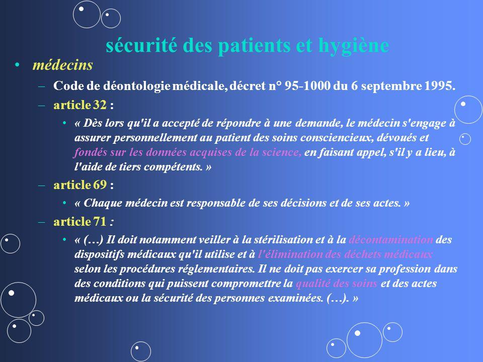 sécurité des patients et hygiène médecins – –Code de déontologie médicale, décret n° 95-1000 du 6 septembre 1995.