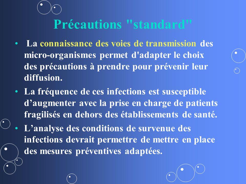 Précautions standard La connaissance des voies de transmission des micro-organismes permet d adapter le choix des précautions à prendre pour prévenir leur diffusion.