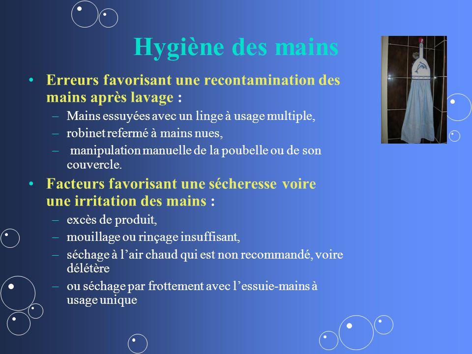 Hygiène des mains Erreurs favorisant une recontamination des mains après lavage : – –Mains essuyées avec un linge à usage multiple, – –robinet refermé à mains nues, – – manipulation manuelle de la poubelle ou de son couvercle.