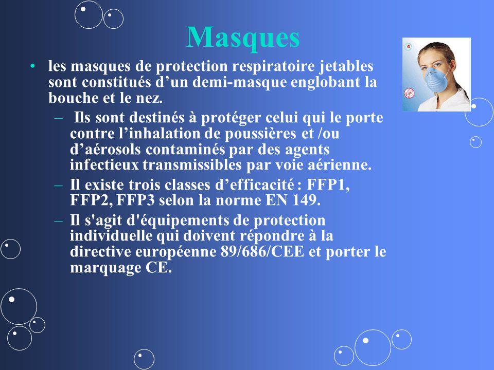 Masques les masques de protection respiratoire jetables sont constitués dun demi-masque englobant la bouche et le nez.