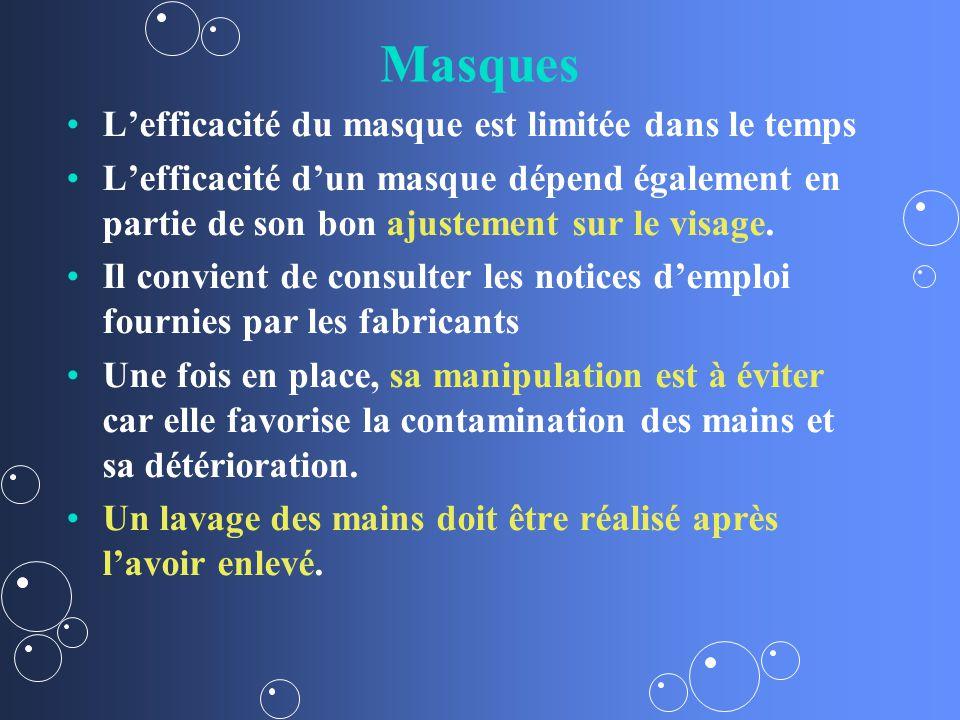 Masques Lefficacité du masque est limitée dans le temps Lefficacité dun masque dépend également en partie de son bon ajustement sur le visage.