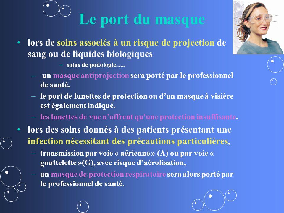 Le port du masque lors de soins associés à un risque de projection de sang ou de liquides biologiques – –soins de podologie…..