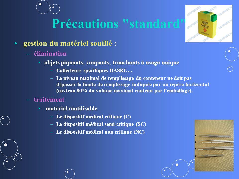 Précautions standard gestion du matériel souillé : – –élimination objets piquants, coupants, tranchants à usage unique – –Collecteurs spécifiques DASRI….