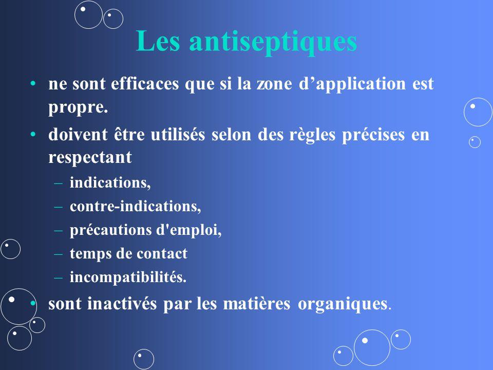 Les antiseptiques ne sont efficaces que si la zone dapplication est propre.