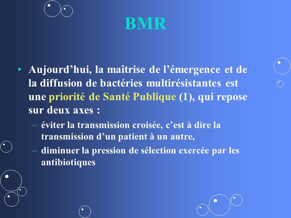 BMR Aujourdhui, la maîtrise de lémergence et de la diffusion de bactéries multirésistantes est une priorité de Santé Publique (1), qui repose sur deux axes : – –éviter la transmission croisée, cest à dire la transmission dun patient à un autre, – –diminuer la pression de sélection exercée par les antibiotiques