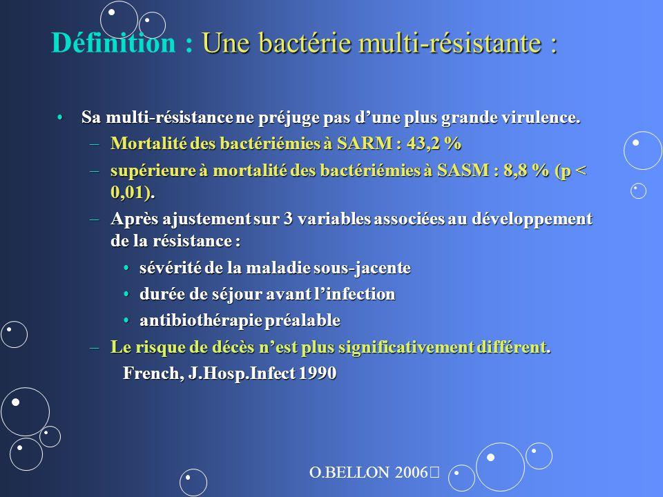 Une bactérie multi-résistante : Définition : Une bactérie multi-résistante : Sa multi-résistance ne préjuge pas dune plus grande virulence.Sa multi-résistance ne préjuge pas dune plus grande virulence.