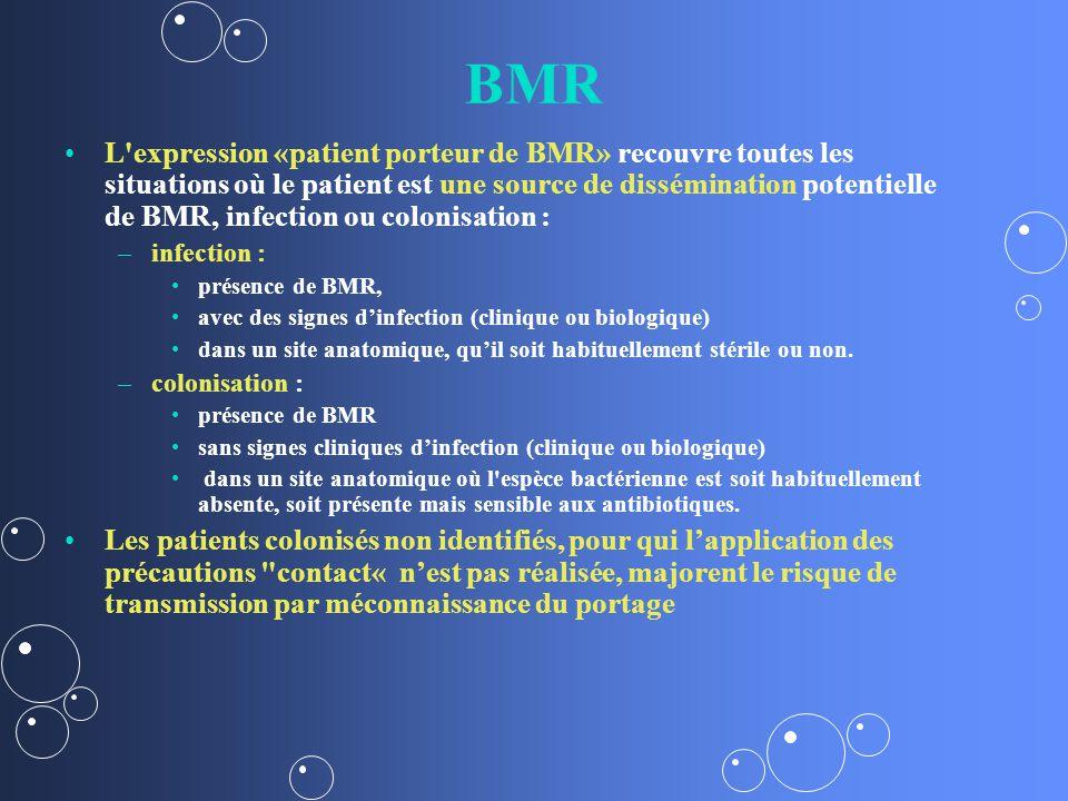 BMR L expression «patient porteur de BMR» recouvre toutes les situations où le patient est une source de dissémination potentielle de BMR, infection ou colonisation : – –infection : présence de BMR, avec des signes dinfection (clinique ou biologique) dans un site anatomique, quil soit habituellement stérile ou non.