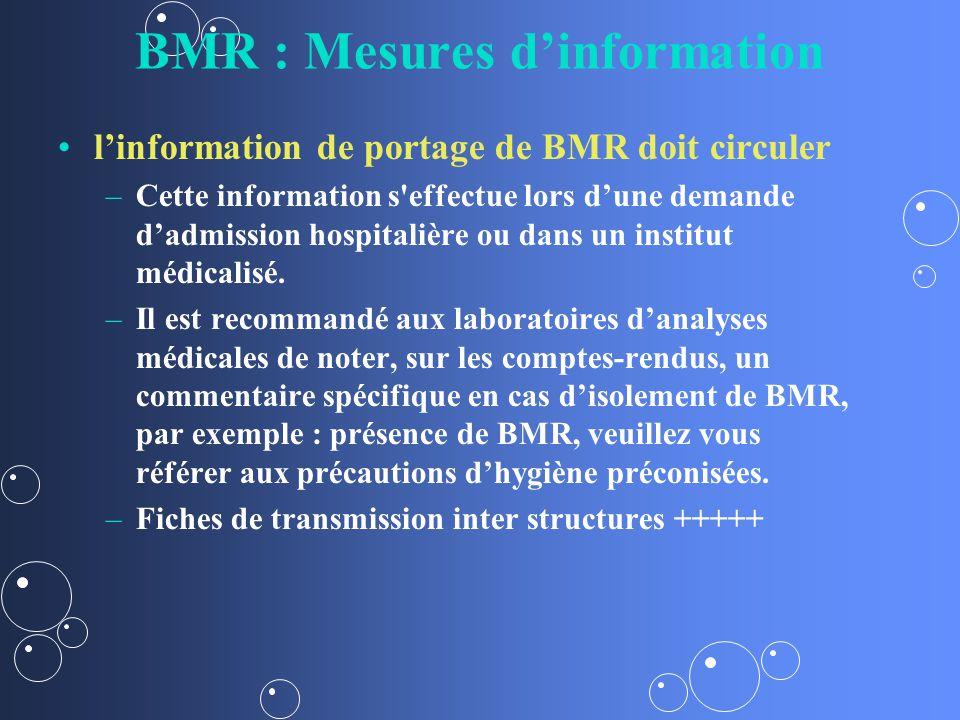 BMR : Mesures dinformation linformation de portage de BMR doit circuler – –Cette information s effectue lors dune demande dadmission hospitalière ou dans un institut médicalisé.