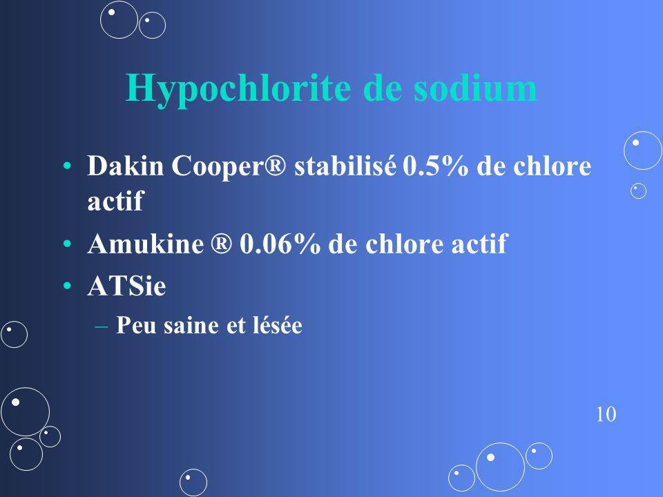 10 Hypochlorite de sodium Dakin Cooper® stabilisé 0.5% de chlore actif Amukine ® 0.06% de chlore actif ATSie – –Peu saine et lésée