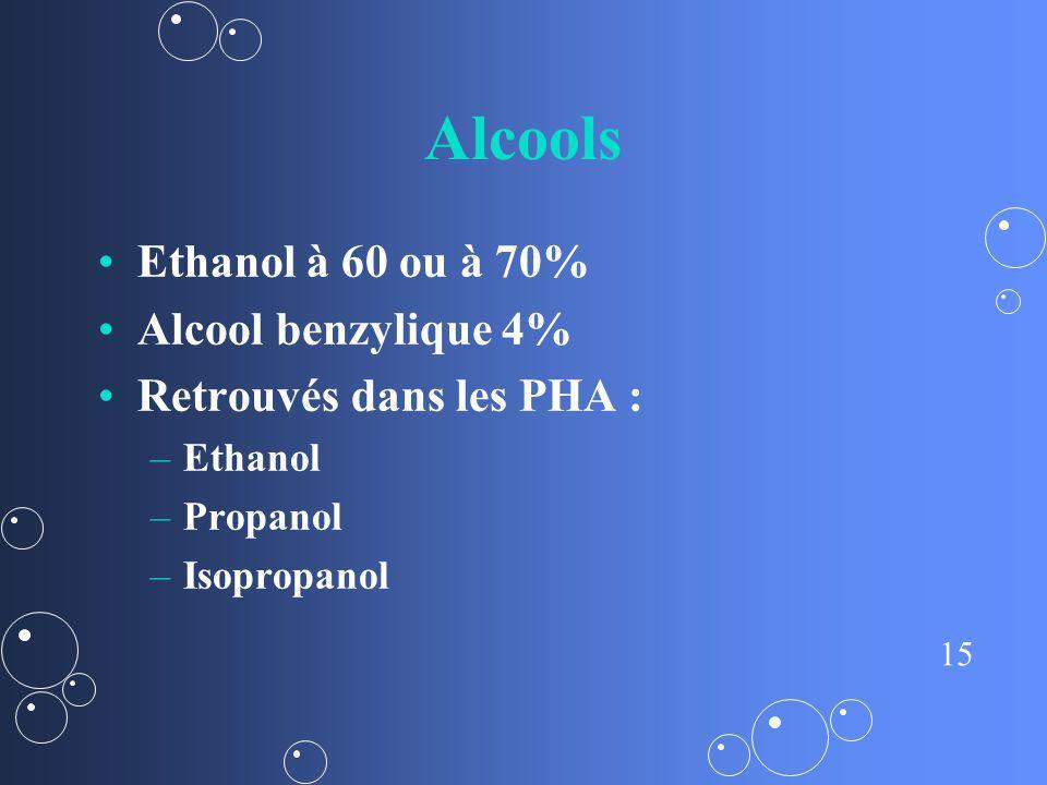 15 Alcools Ethanol à 60 ou à 70% Alcool benzylique 4% Retrouvés dans les PHA : – –Ethanol – –Propanol – –Isopropanol