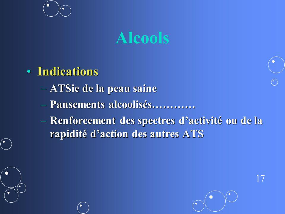 17 Alcools IndicationsIndications –ATSie de la peau saine –Pansements alcoolisés………… –Renforcement des spectres dactivité ou de la rapidité daction de