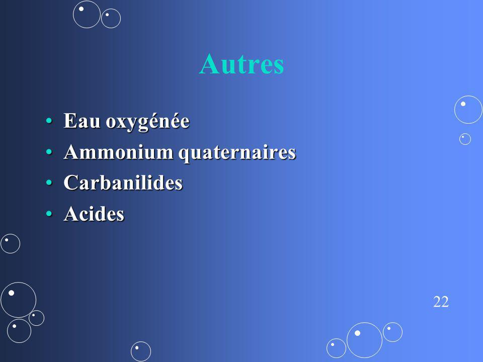 22 Autres Eau oxygénéeEau oxygénée Ammonium quaternairesAmmonium quaternaires CarbanilidesCarbanilides AcidesAcides