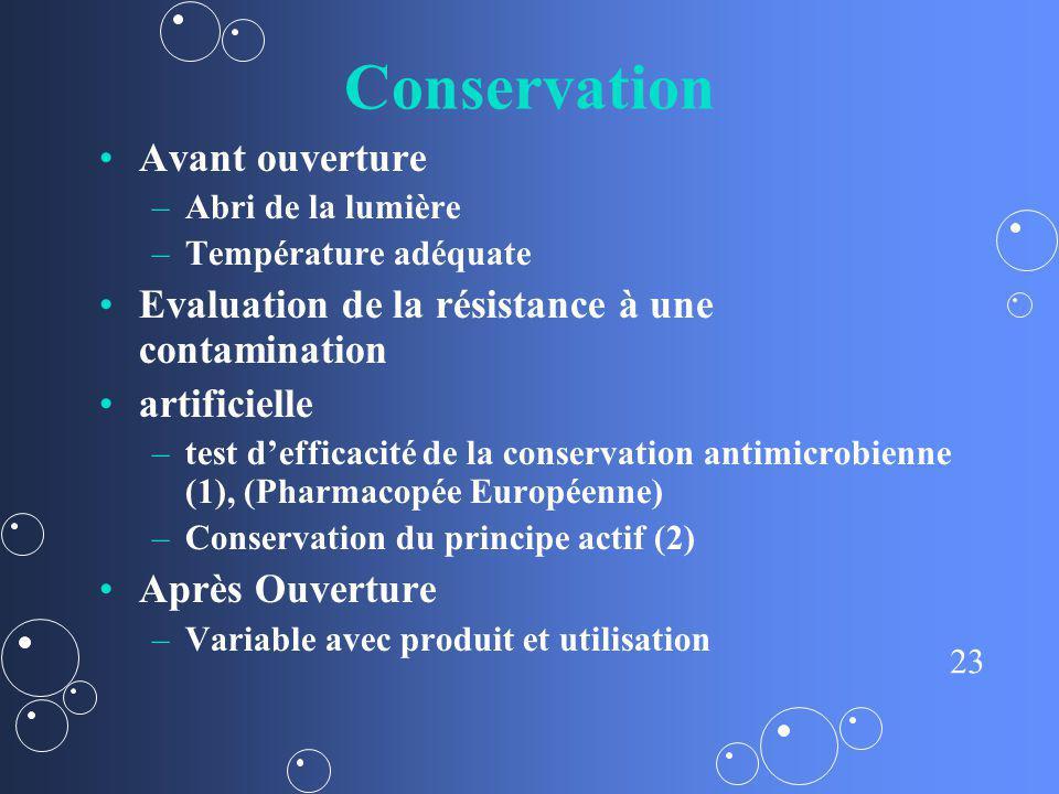 23 Conservation Avant ouverture – –Abri de la lumière – –Température adéquate Evaluation de la résistance à une contamination artificielle – –test def
