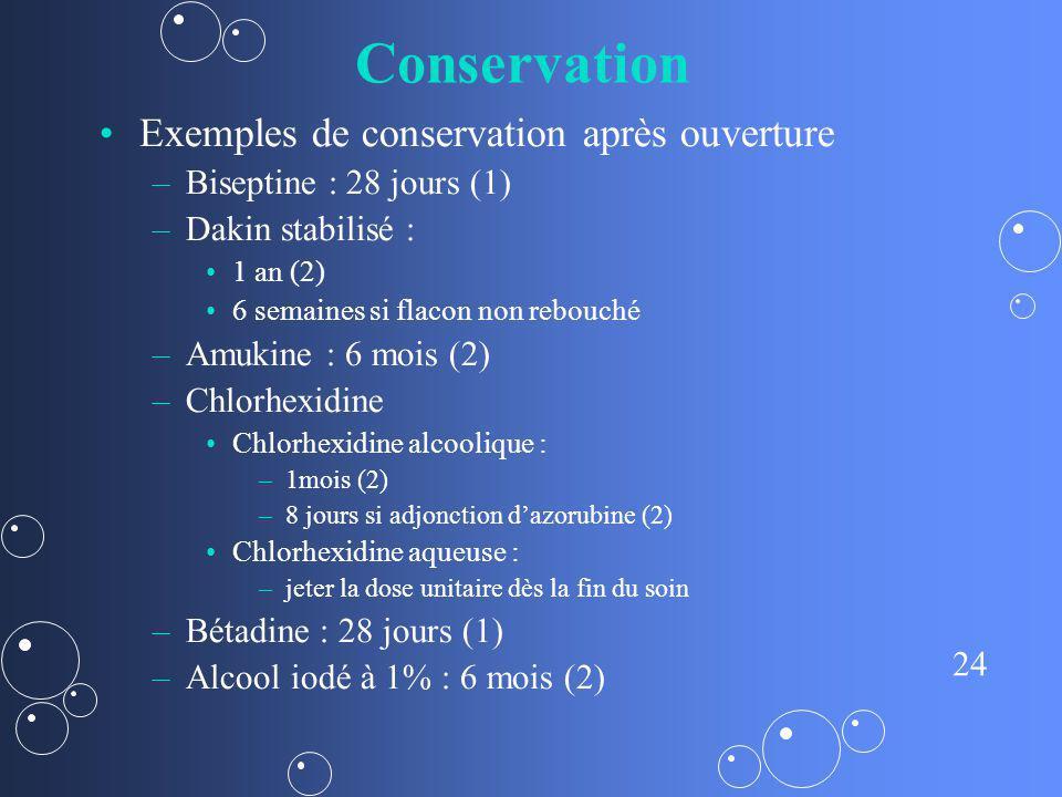 24 Conservation Exemples de conservation après ouverture – –Biseptine : 28 jours (1) – –Dakin stabilisé : 1 an (2) 6 semaines si flacon non rebouché –