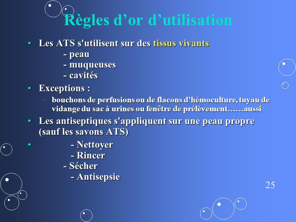 25 Règles dor dutilisation Les ATS s'utilisent sur des tissus vivants - peau - muqueuses - cavitésLes ATS s'utilisent sur des tissus vivants - peau -