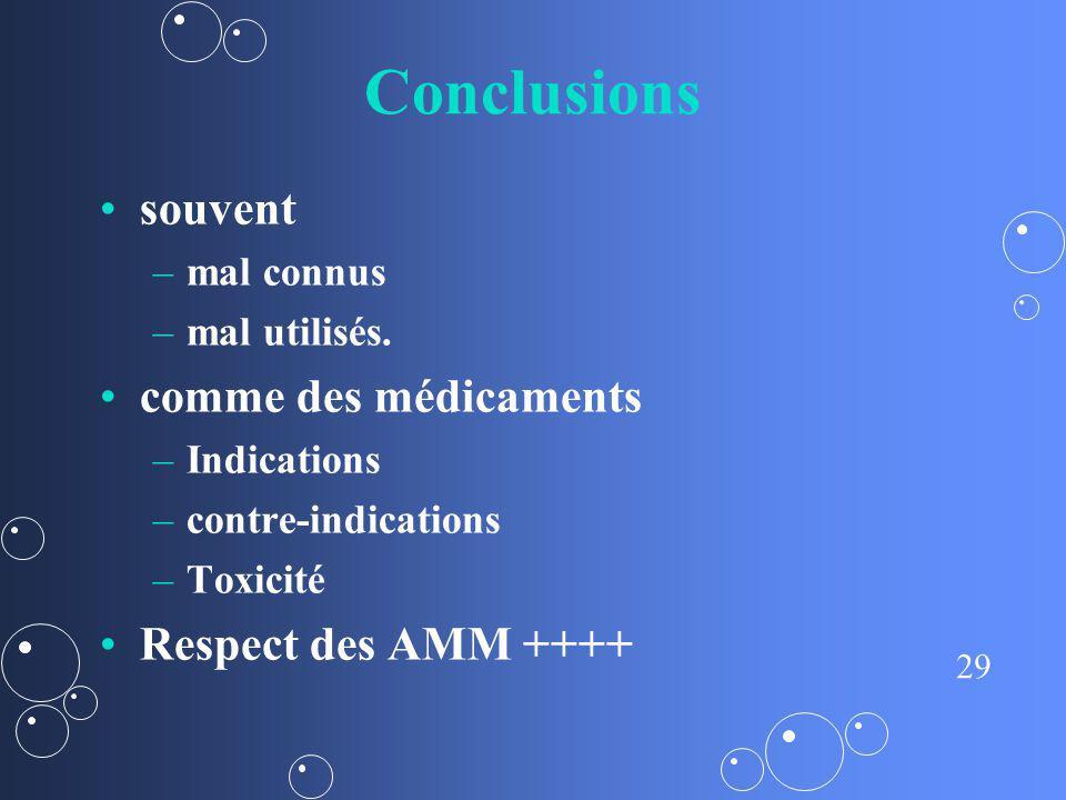 29 Conclusions souvent – –mal connus – –mal utilisés. comme des médicaments – –Indications – –contre-indications – –Toxicité Respect des AMM ++++