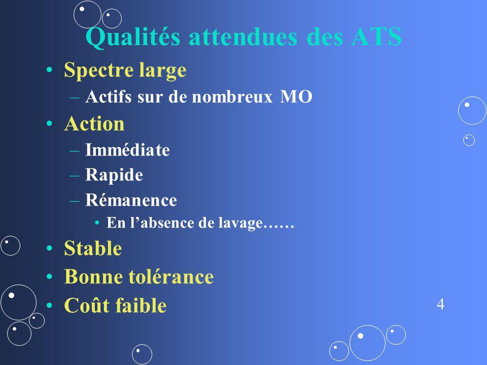4 Qualités attendues des ATS Spectre large – –Actifs sur de nombreux MO Action – –Immédiate – –Rapide – –Rémanence En labsence de lavage…… Stable Bonn
