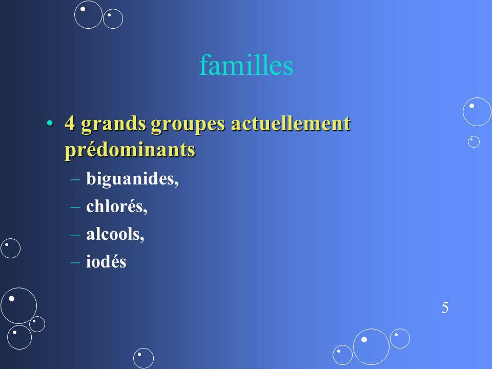 5 familles 4 grands groupes actuellement prédominants4 grands groupes actuellement prédominants – –biguanides, – –chlorés, – –alcools, – –iodés