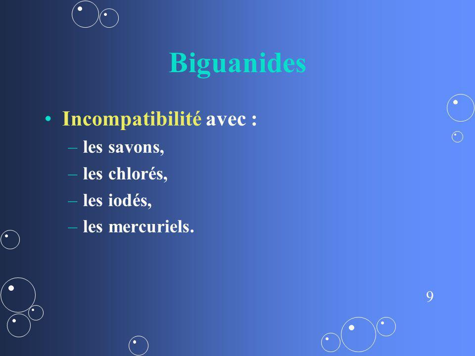 9 Biguanides Incompatibilité avec : – –les savons, – –les chlorés, – –les iodés, – –les mercuriels.
