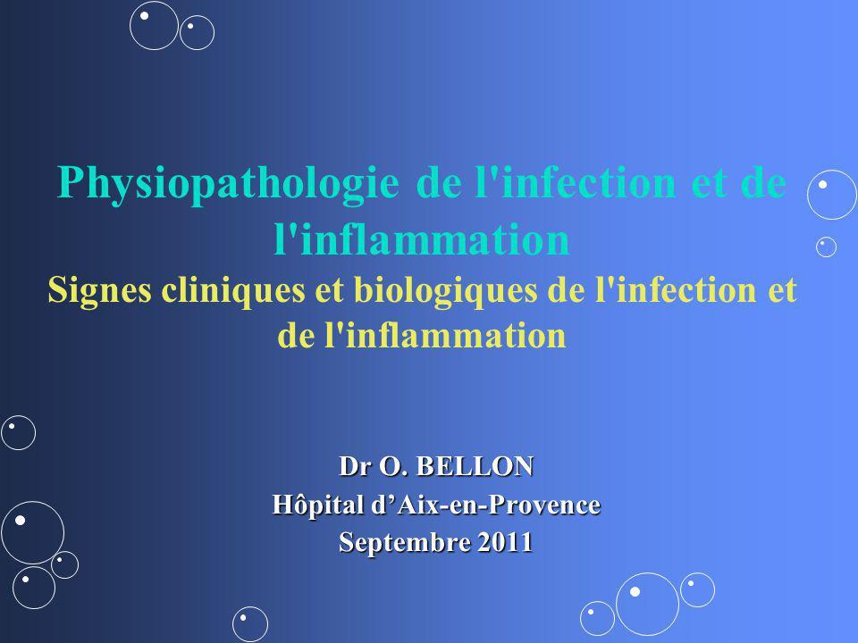 Physiopathologie de l'infection et de l'inflammation Signes cliniques et biologiques de l'infection et de l'inflammation Dr O. BELLON Hôpital dAix-en-