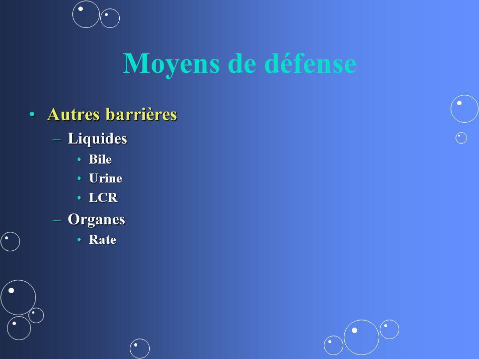 Moyens de défense Autres barrièresAutres barrières –Liquides BileBile UrineUrine LCRLCR –Organes RateRate