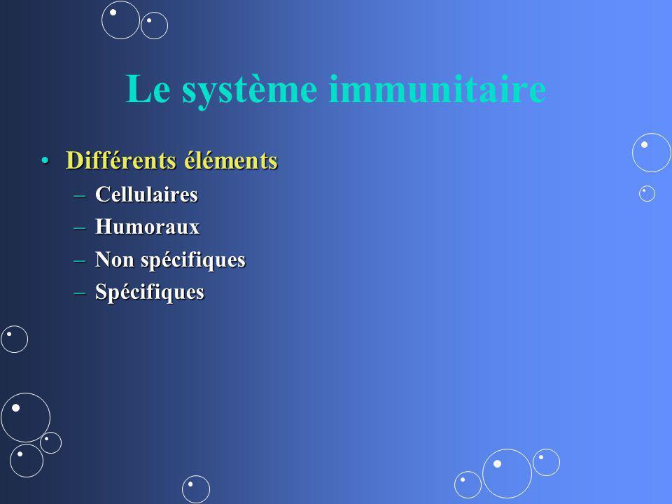 Le système immunitaire Différents élémentsDifférents éléments –Cellulaires –Humoraux –Non spécifiques –Spécifiques
