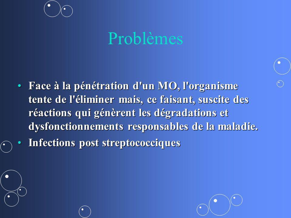 Problèmes Face à la pénétration d'un MO, l'organisme tente de l'éliminer mais, ce faisant, suscite des réactions qui génèrent les dégradations et dysf