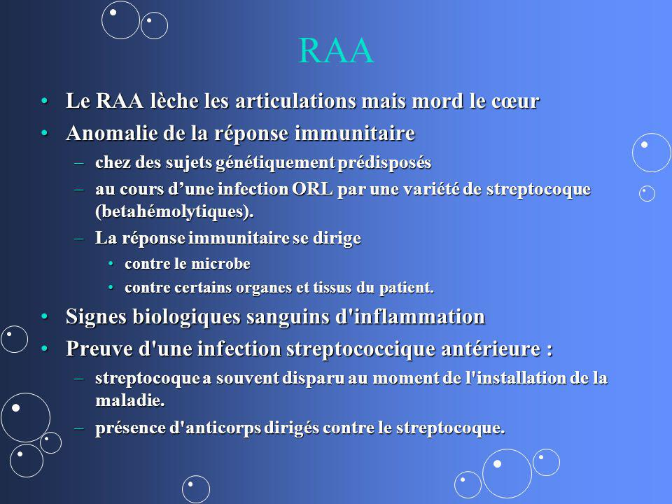 RAA Le RAA lèche les articulations mais mord le cœurLe RAA lèche les articulations mais mord le cœur Anomalie de la réponse immunitaireAnomalie de la