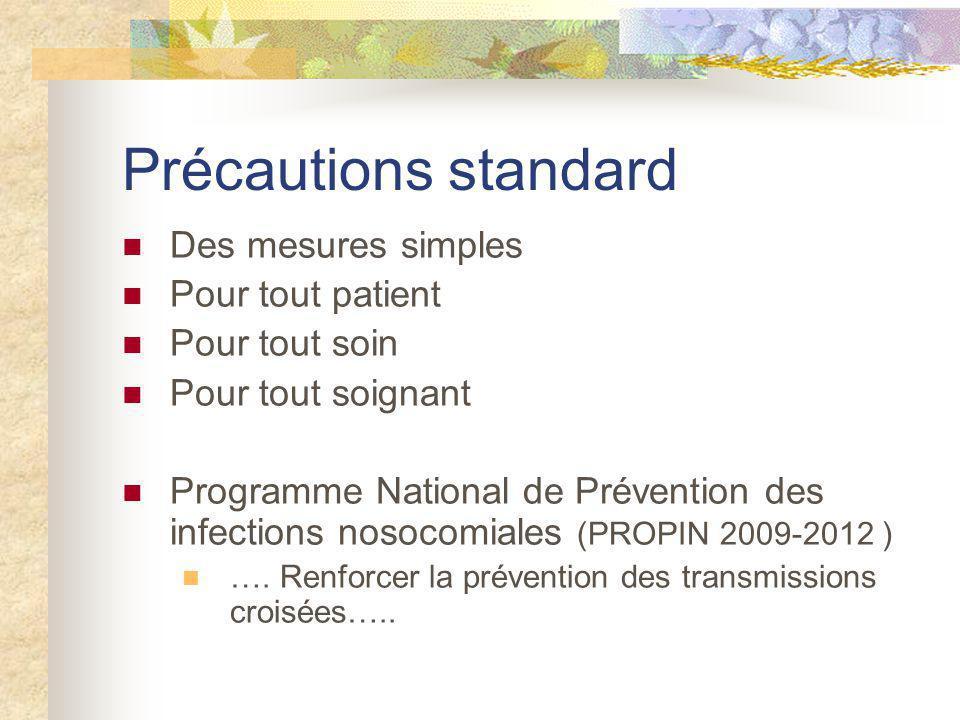 Précautions standard Des mesures simples Pour tout patient Pour tout soin Pour tout soignant Programme National de Prévention des infections nosocomia