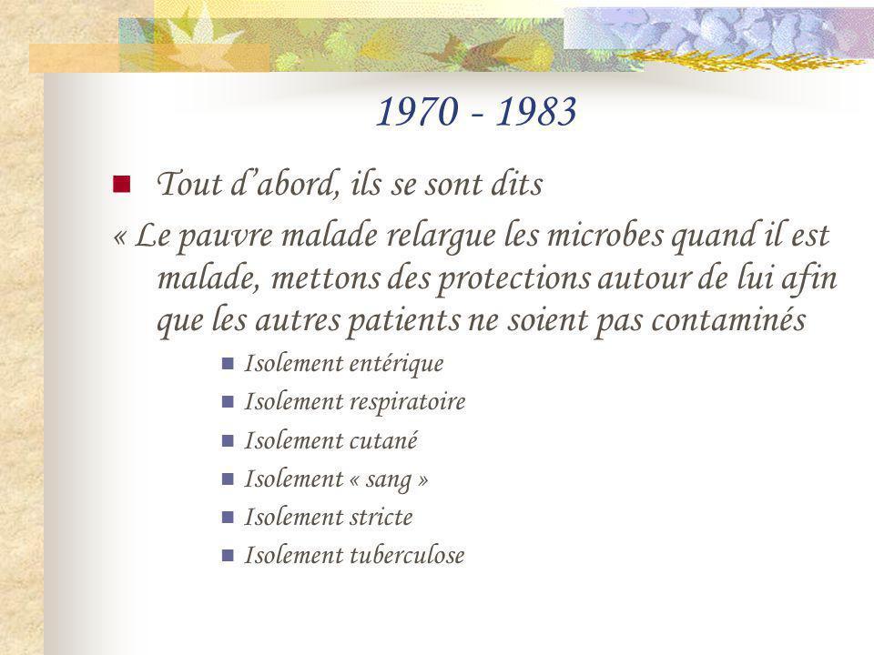 1970 - 1983 Tout dabord, ils se sont dits « Le pauvre malade relargue les microbes quand il est malade, mettons des protections autour de lui afin que
