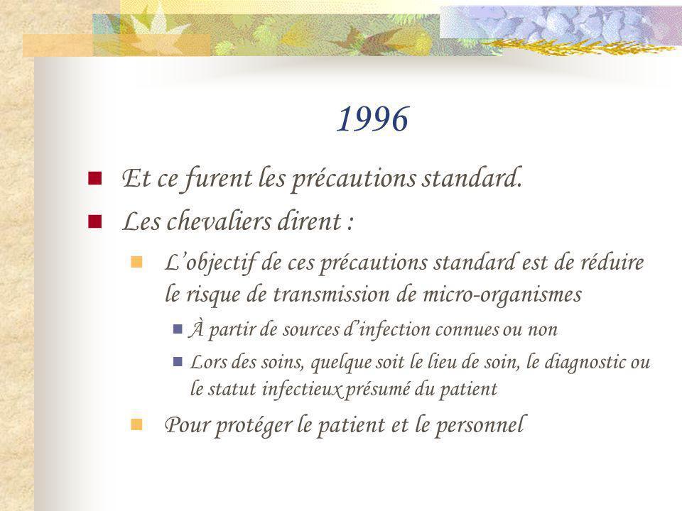 1996 Et ce furent les précautions standard. Les chevaliers dirent : Lobjectif de ces précautions standard est de réduire le risque de transmission de