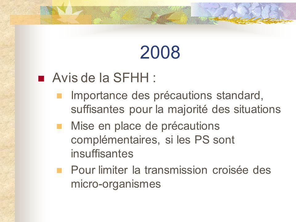 2008 Avis de la SFHH : Importance des précautions standard, suffisantes pour la majorité des situations Mise en place de précautions complémentaires,